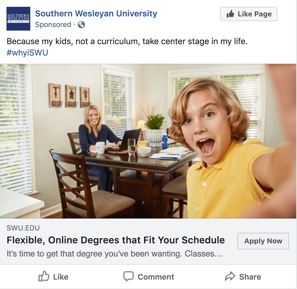 Facebook ad with boy in yellow shirt taking selfie with mom in the background