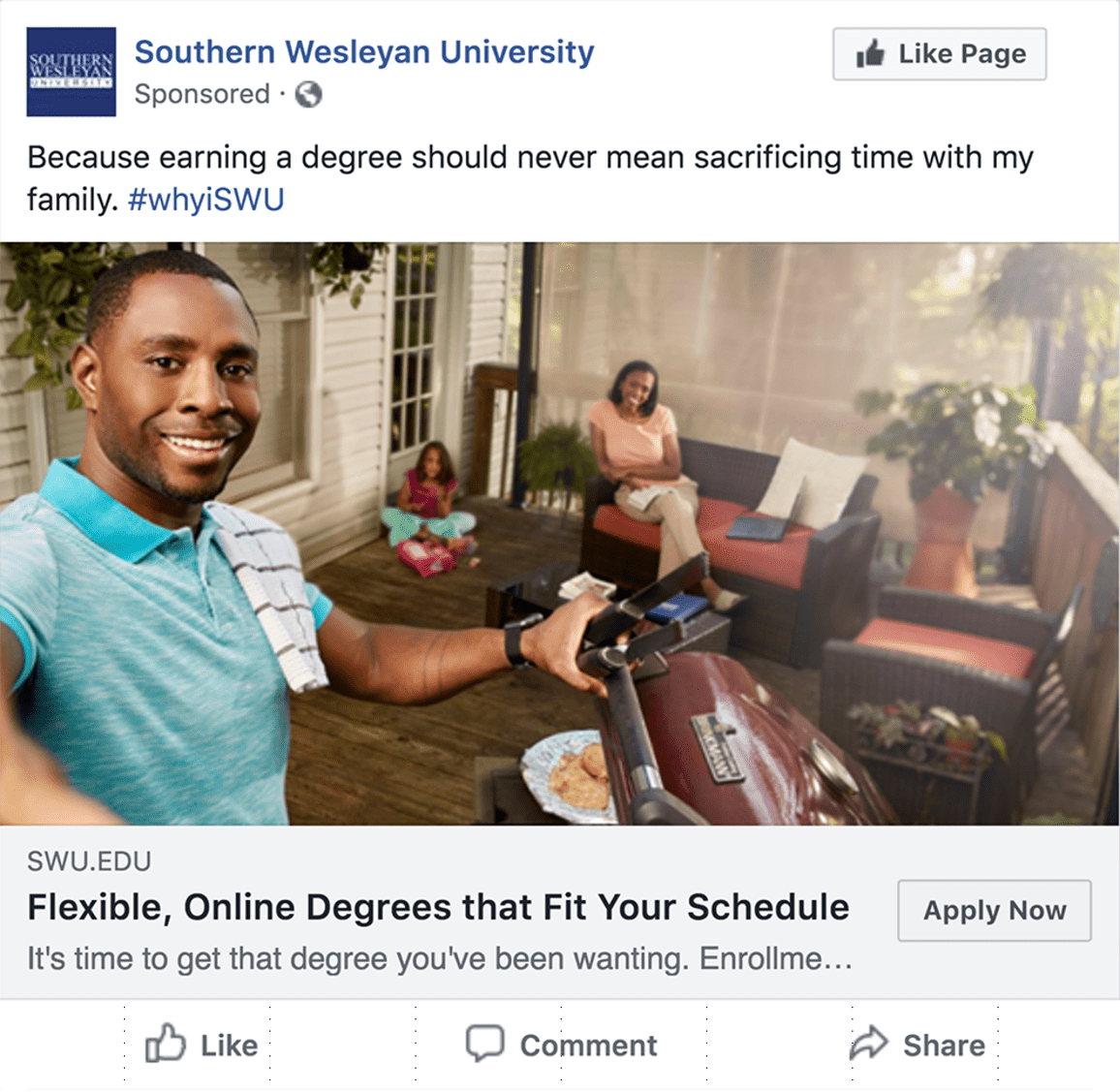 Facebook ad with man at grill taking selfie with family in backround